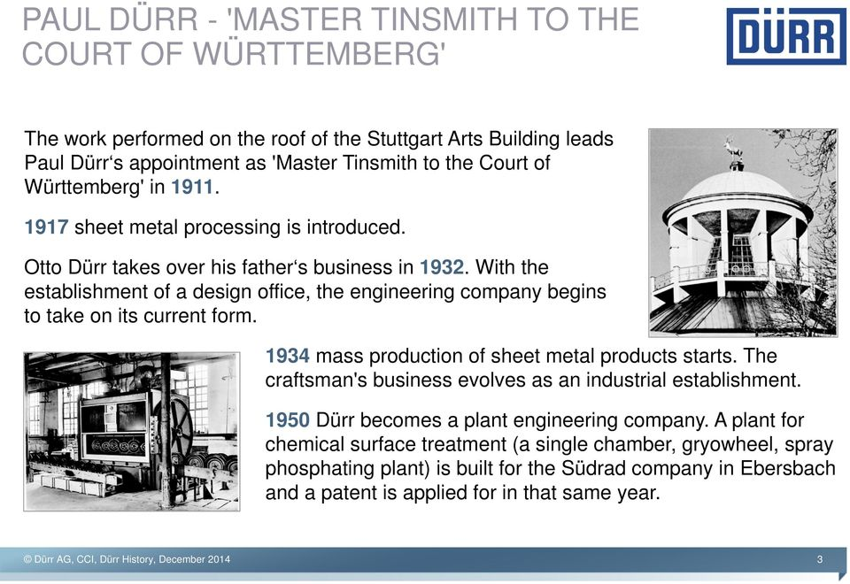 With the establishment of a design office, the engineering company begins to take on its current form. 1934 mass production of sheet metal products starts.