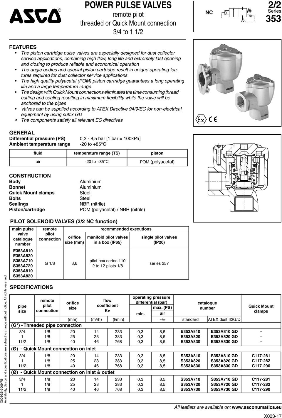 collector service applications The high quality polyacetal (POM) piston cartridge guarantees a long operating life and a large temperature range The design with Quick Mount s eliminates the time