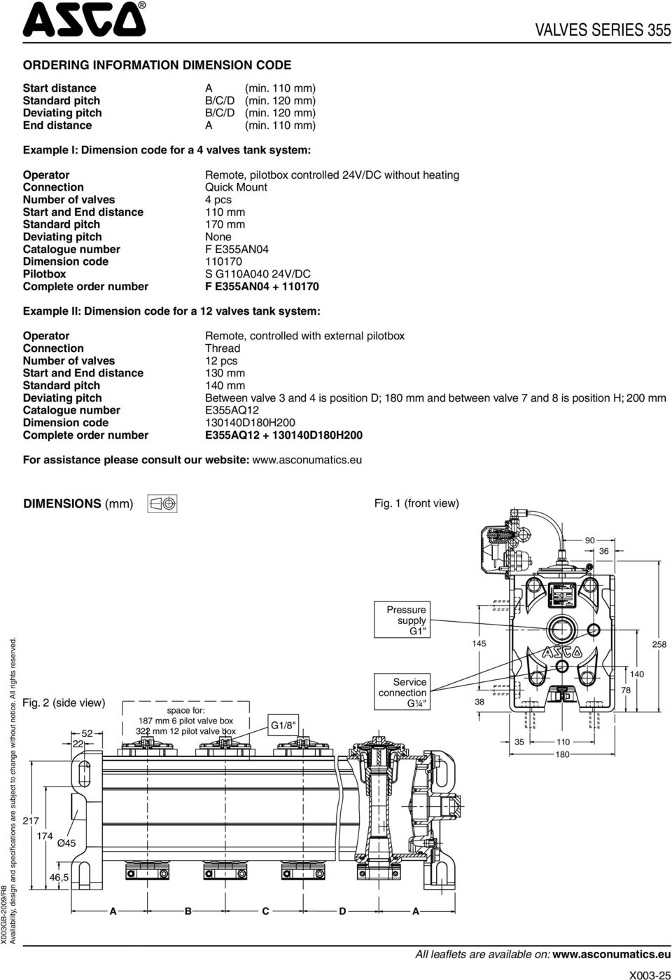 Standard pitch 170 mm eviating pitch None atalogue 355N04 imension code 110170 Pilotbox S 110040 24V/ omplete order 355N04 + 110170 xample II: imension code for a 12 valves tank system: Operator