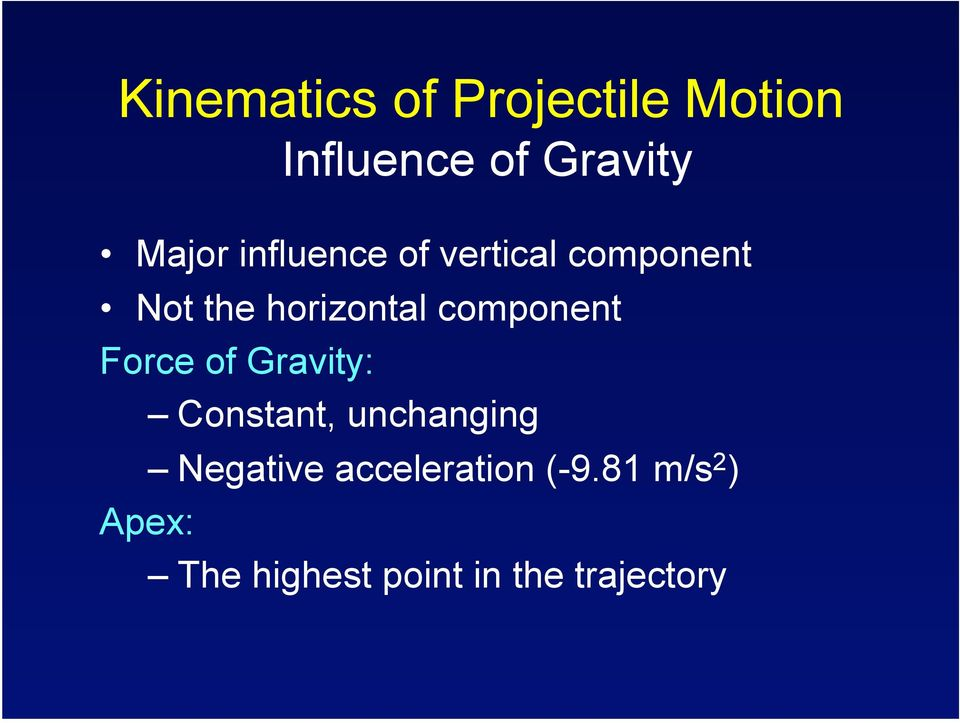 component Force of Gravity: Constant, unchanging Negative