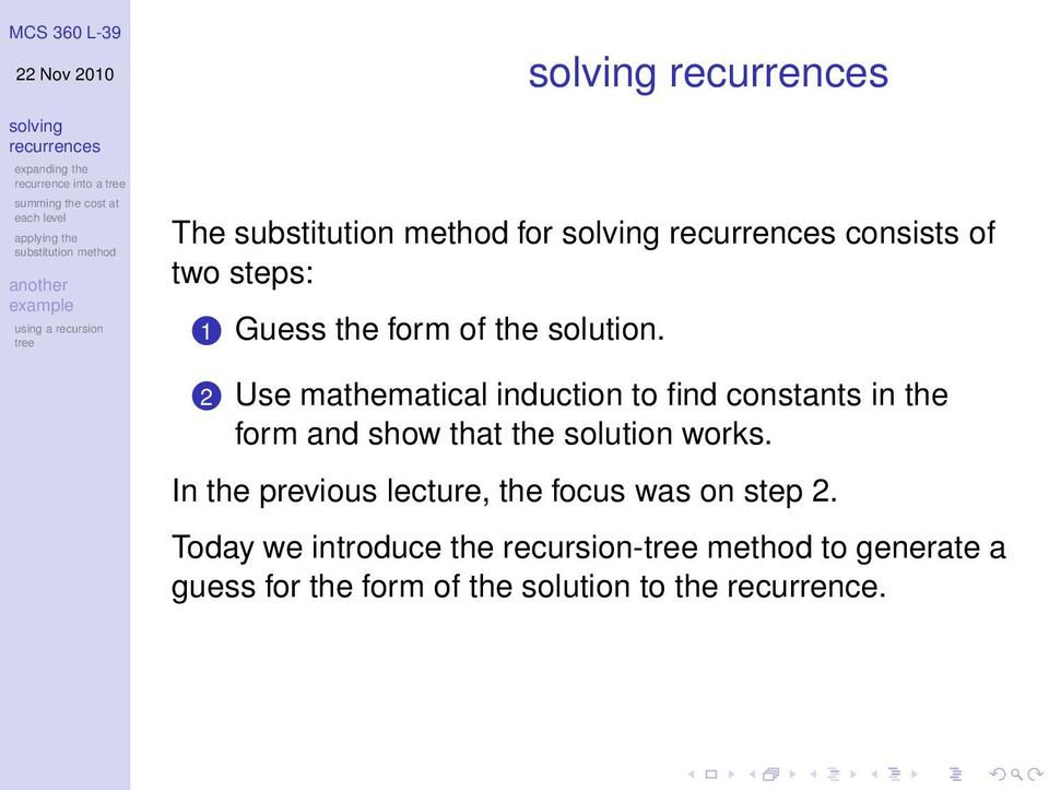 solution works. In the previous lecture, the focus was on step 2.