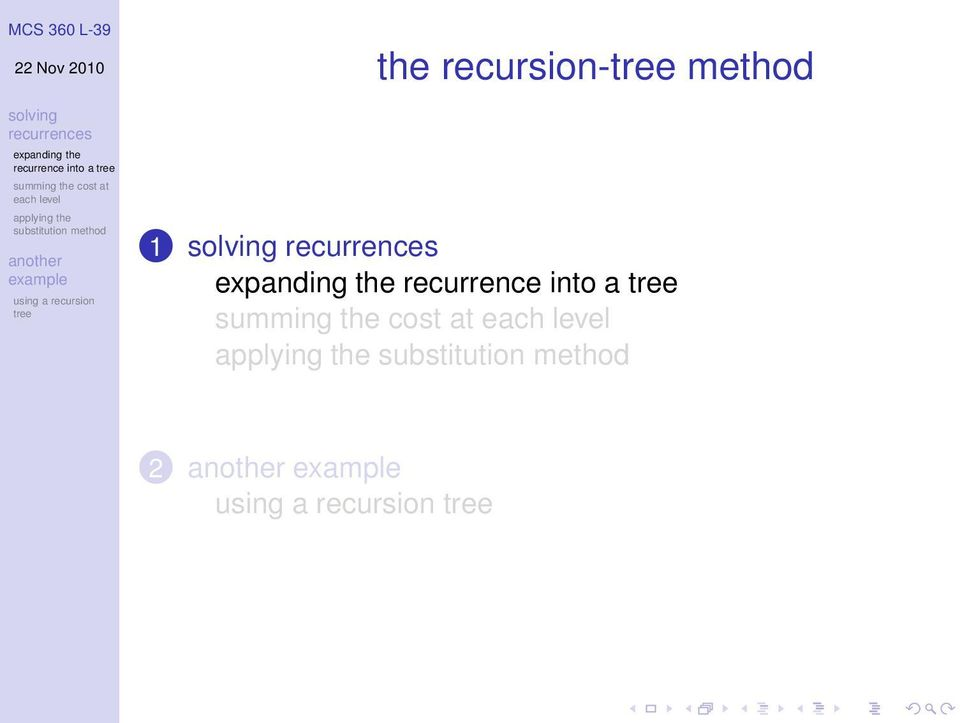 recurrence into
