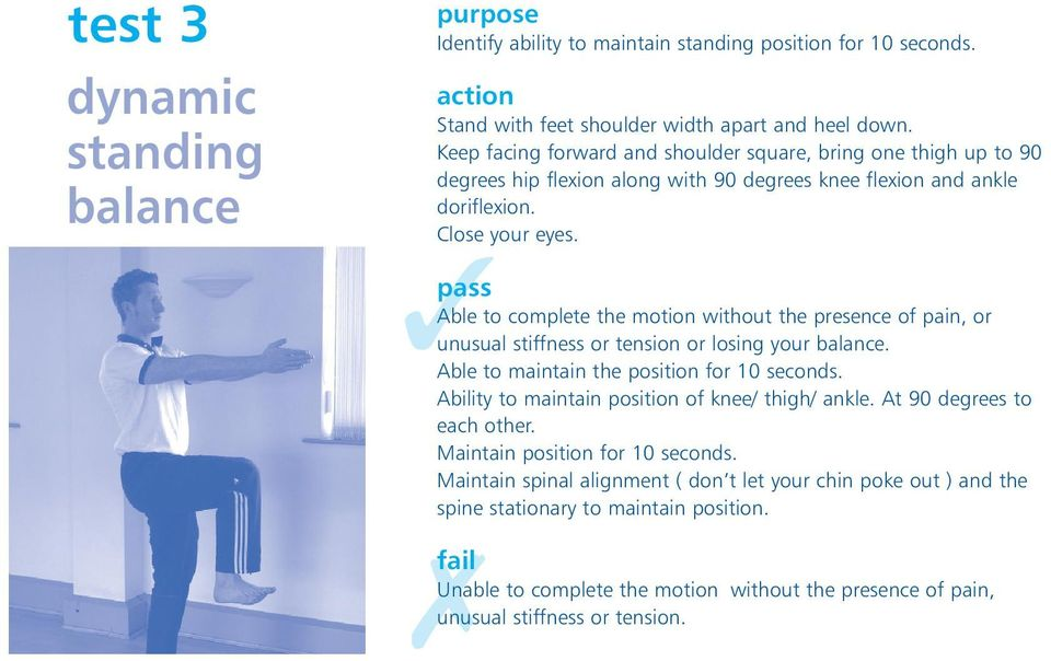Able to complete the motion without the presence of pain, or unusual stiffness or tension or losing your balance. Able to maintain the position for 10 seconds.