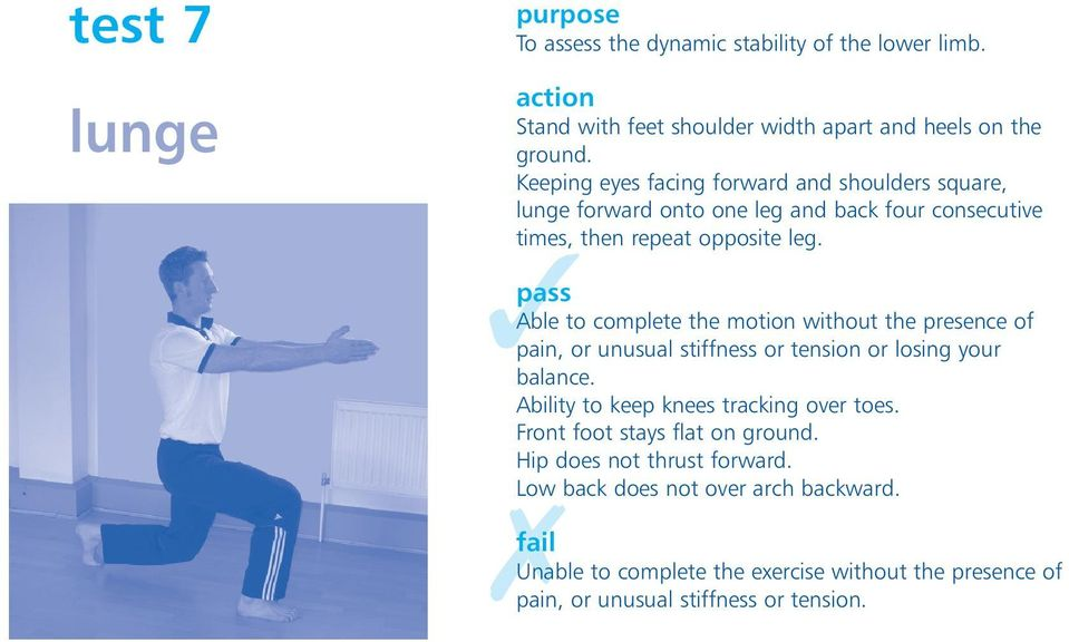 Able to complete the motion without the presence of pain, or unusual stiffness or tension or losing your balance.