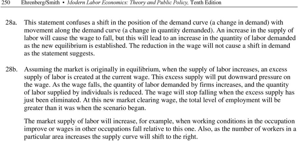 An increase in the supply of labor will cause the wage to fall, but this will lead to an increase in the quantity of labor demanded as the new equilibrium is established.