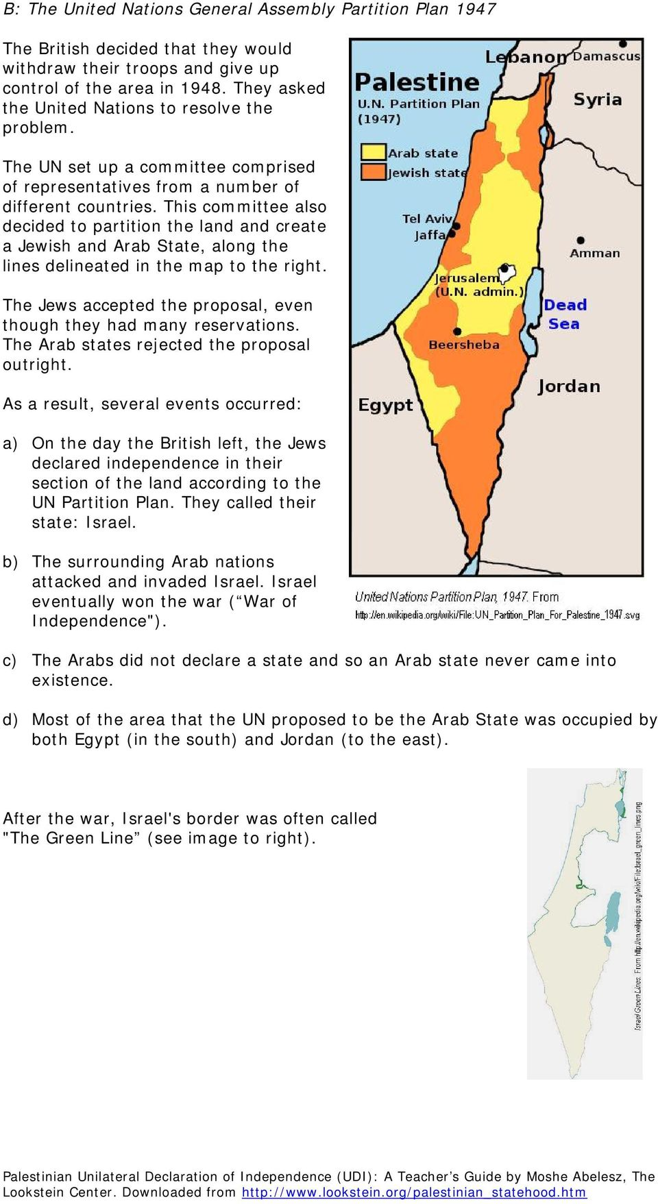 This committee also decided to partition the land and create a Jewish and Arab State, along the lines delineated in the map to the right.
