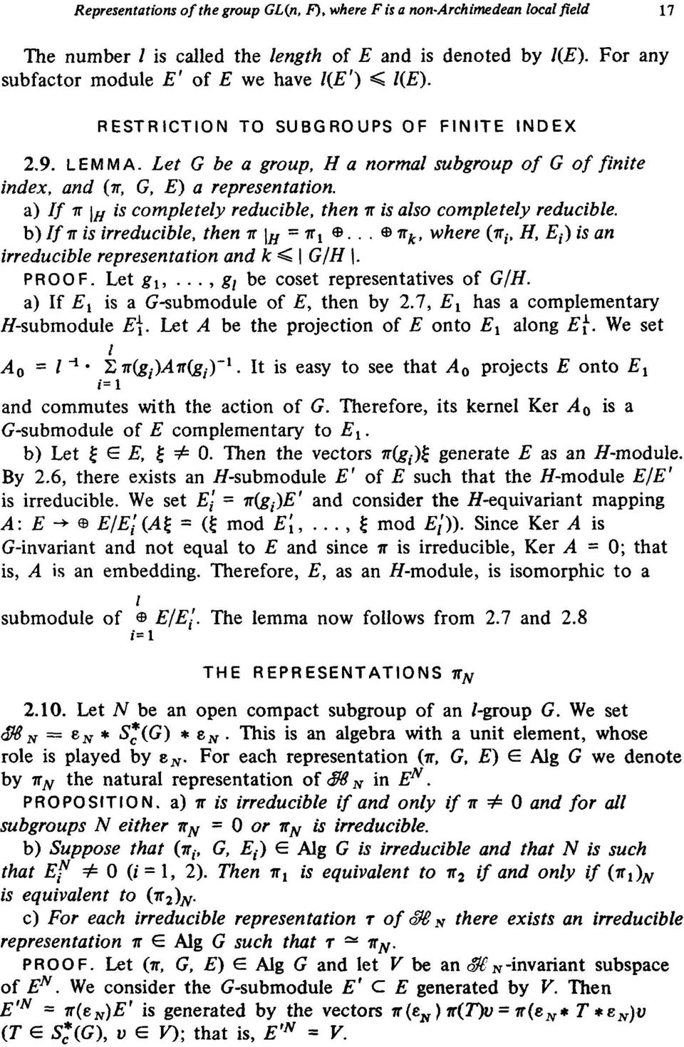 completely reducible b) Ifir is irreducible, then π \ H = ir l θ θ ir k, where (π (, Η, E t ) is an irreducible representation and k < G/H \ PROOF Let gx,, g t be coset representatives of G/H a) If E