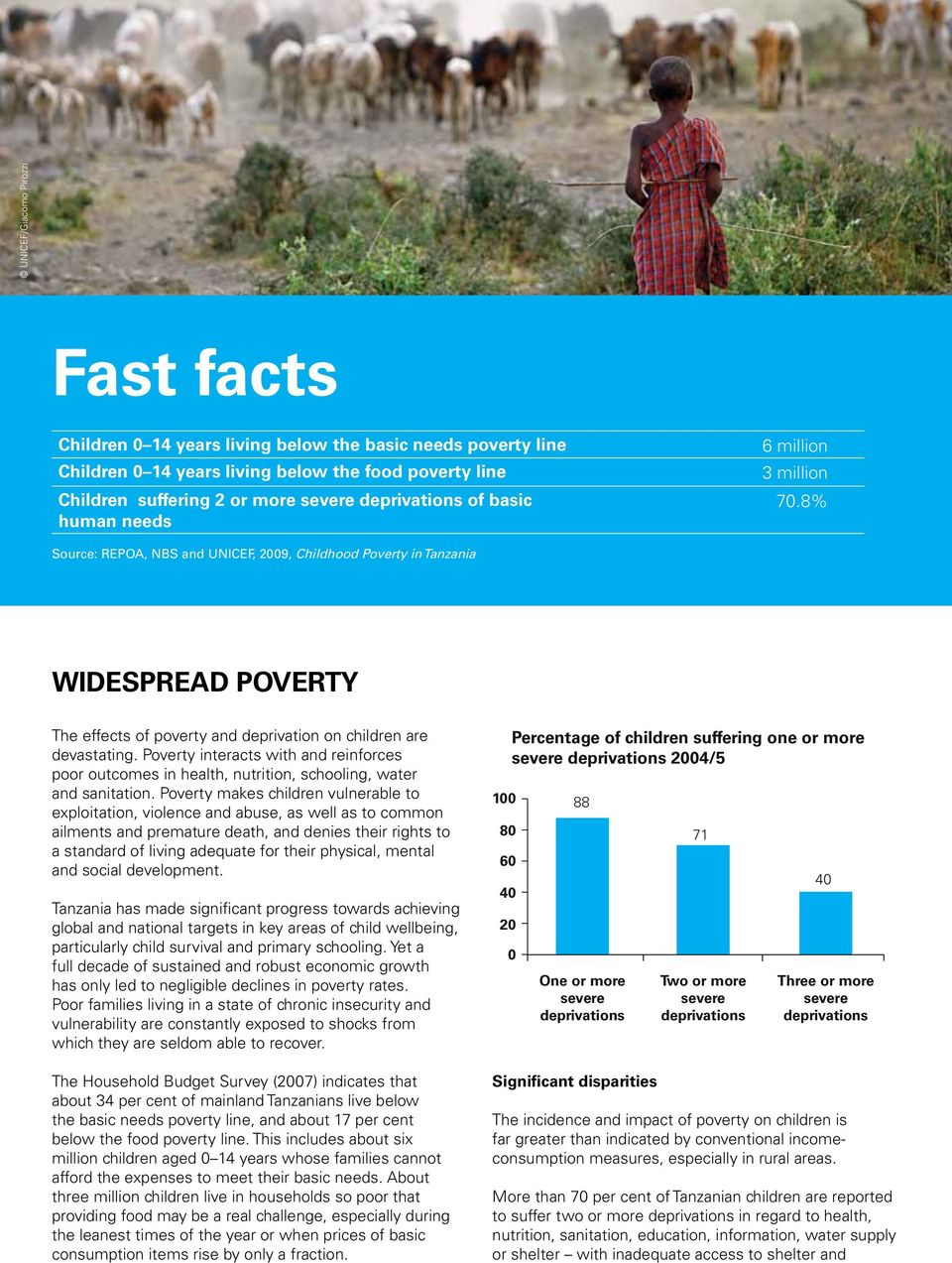 Poverty interacts with and reinforces poor outcomes in health, nutrition, schooling, water and sanitation.