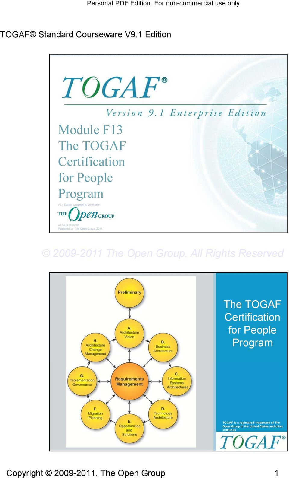 Group, 011 The TOGAF Certification for People Program Slide of TOGAF is a