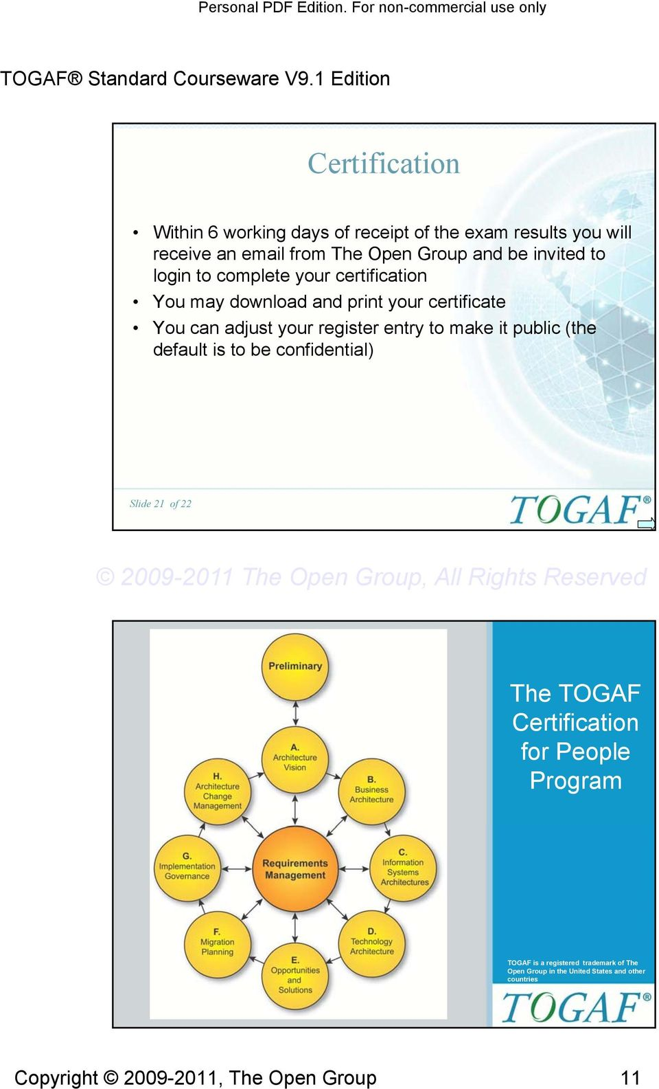 entry to make it public (the default is to be confidential) Slide 1 of The TOGAF Certification for People Program Slide of