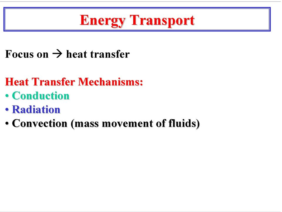 Mechanisms: Conduction