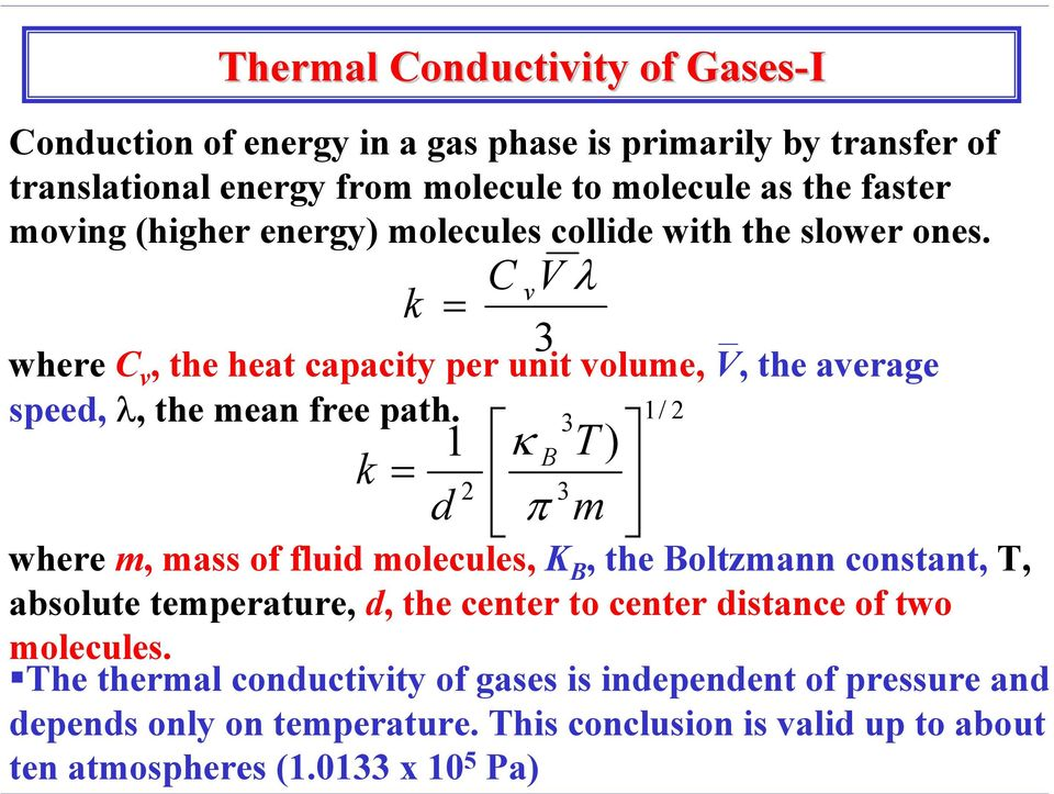 k k = = 1 d 2 C V λ where C v, the heat capacity per unit volume, V, the average speed, λ, the mean free path.