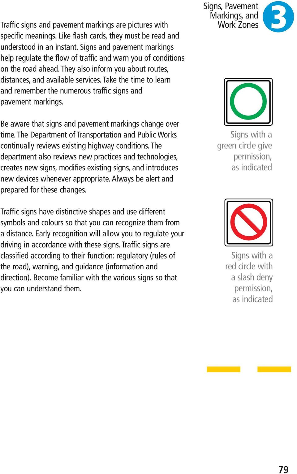 Take the time to learn and remember the numerous traffic signs and pavement markings. Signs, Pavement 3 Be aware that signs and pavement markings change over time.