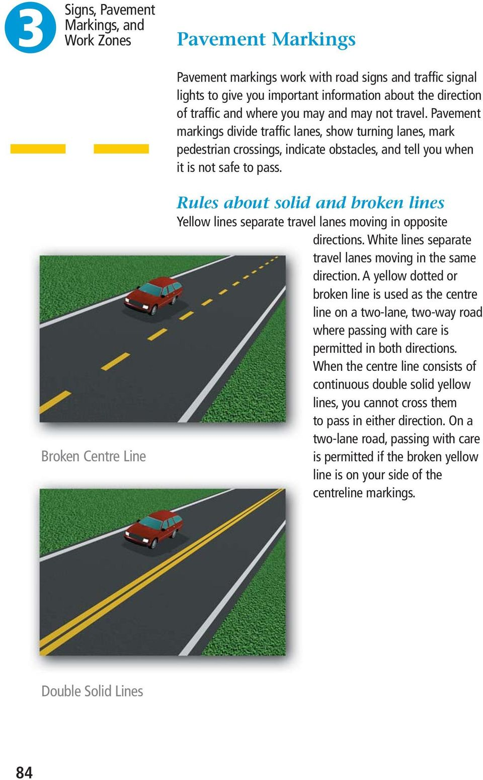 Broken Centre Line Rules about solid and broken lines Yellow lines separate travel lanes moving in opposite directions. White lines separate travel lanes moving in the same direction.