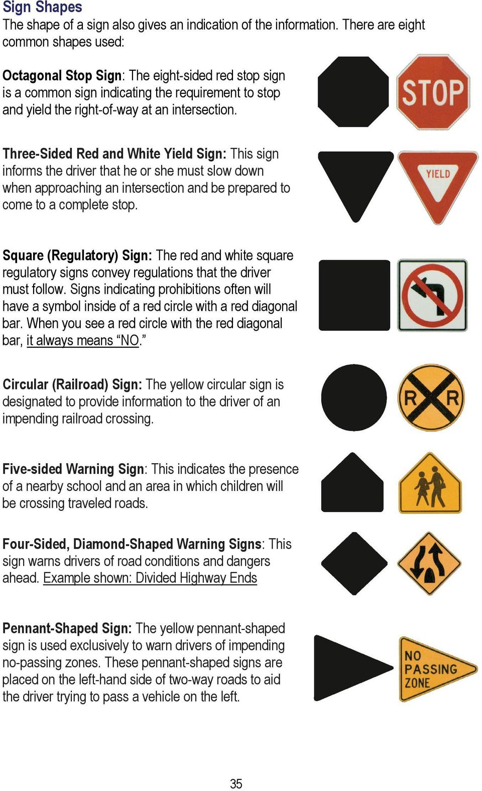 Three-Sided Red and White Yield Sign: This sign informs the driver that he or she must slow down when approaching an intersection and be prepared to come to a complete stop.