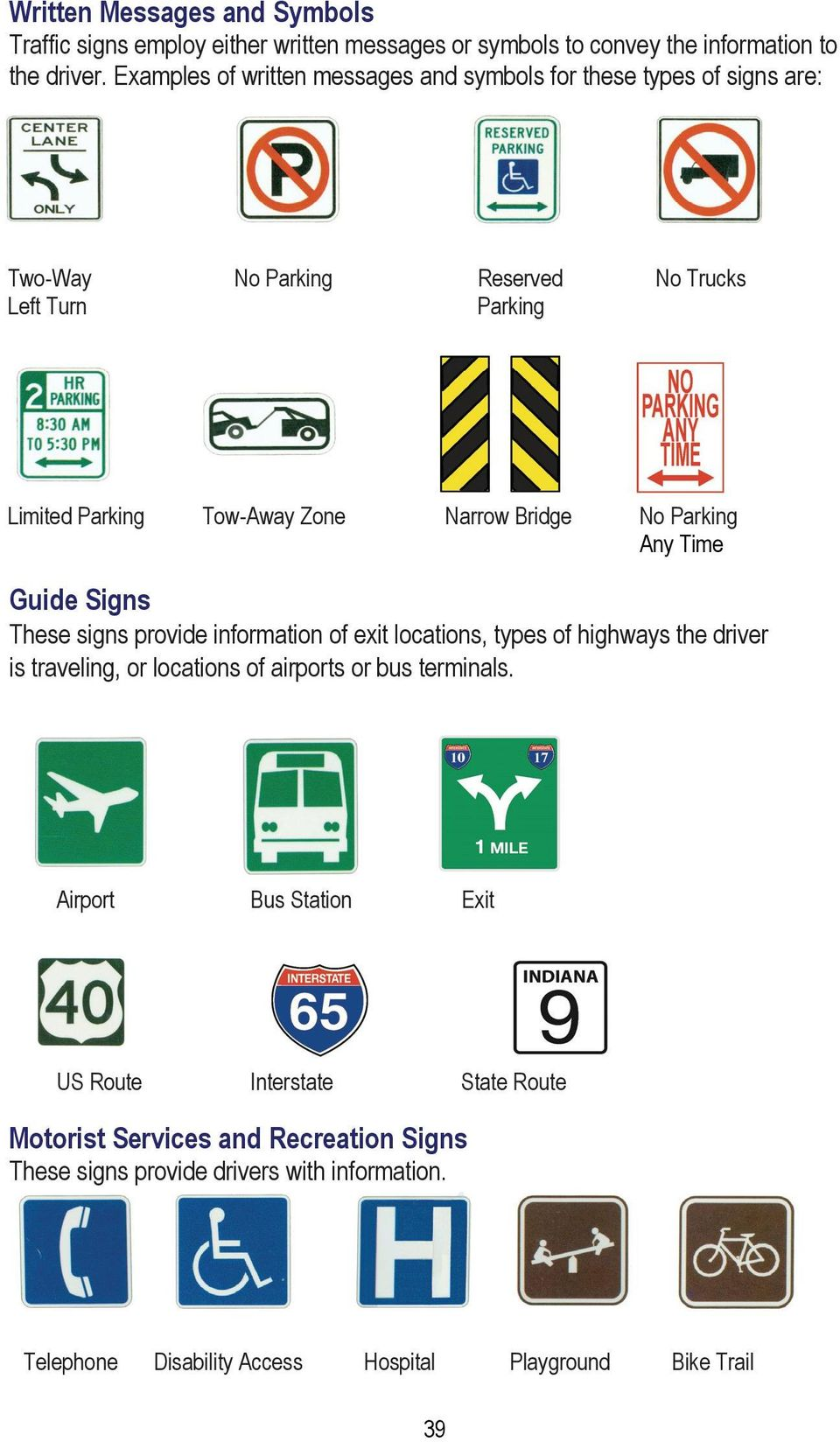Bridge No Parking Any Time Guide Signs These signs provide information of exit locations, types of highways the driver is traveling, or locations of airports or bus