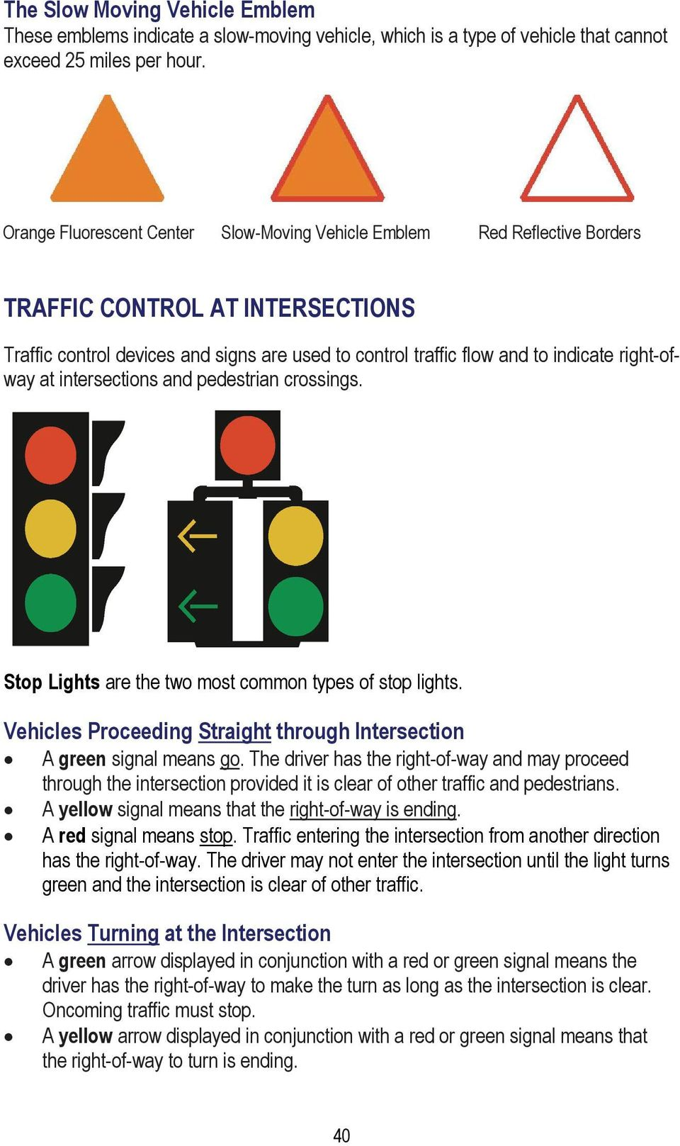 right-ofway at intersections and pedestrian crossings. Stop Lights are the two most common types of stop lights. Vehicles Proceeding Straight through Intersection A green signal means go.
