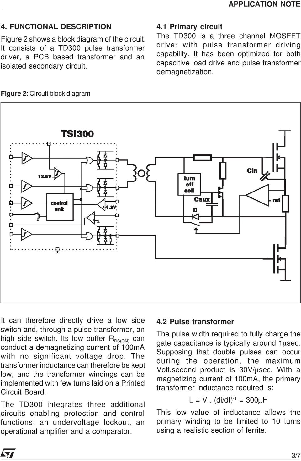 An Isolated Gate Drive For Power Mosfets And Igbts Pdf Bta41 600b Datasheet Application Note Electronic Circuit Projects Figure 2 Block Diagram It Can Therefore Directly A Low Side Switch