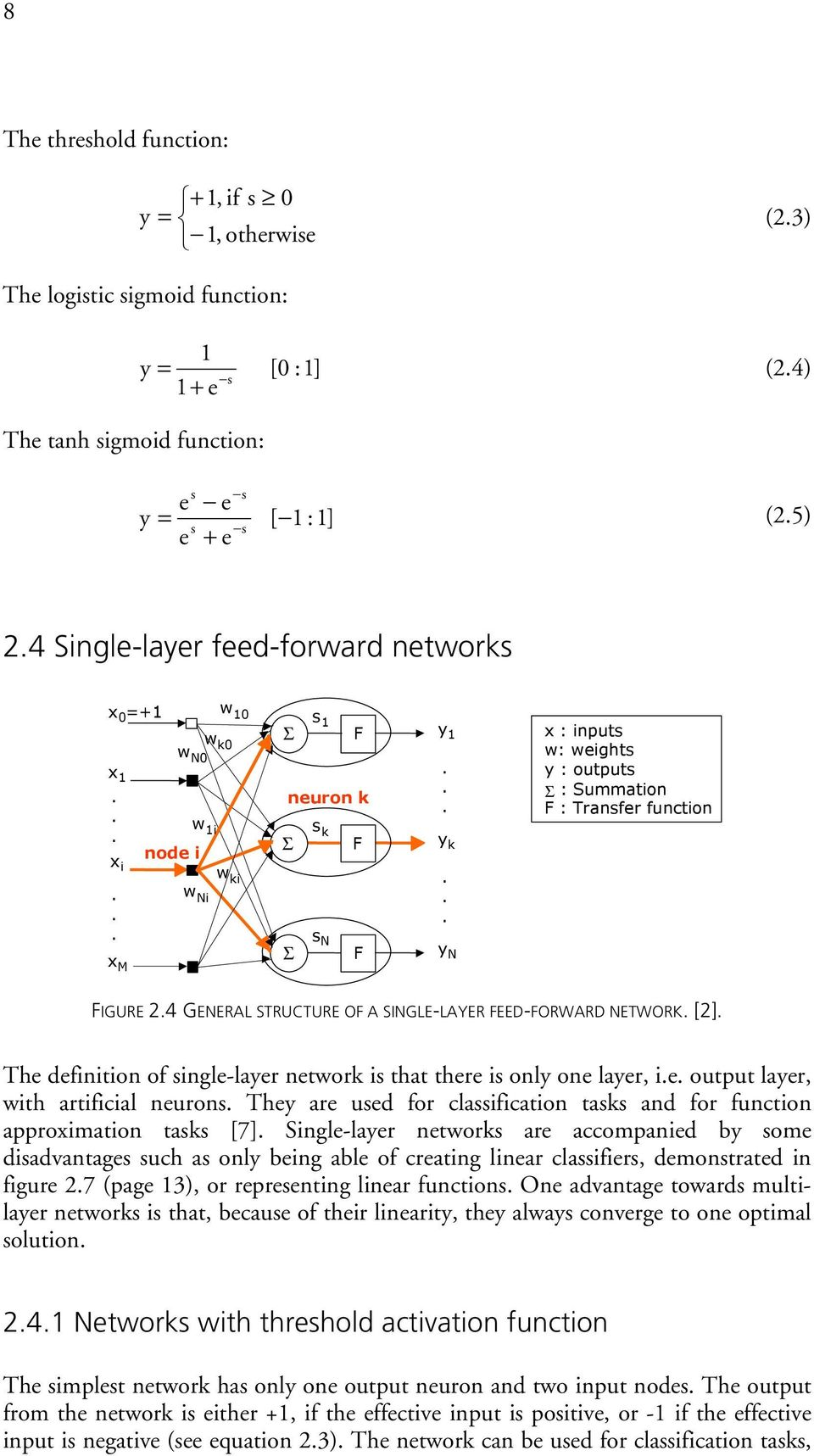FIGURE 24 GENERAL STRUCTURE OF A SINGLE-LAYER FEED-FORWARD NETWORK [2] The definition of single-layer network is that there is only one layer, ie output layer, with artificial neurons They are used