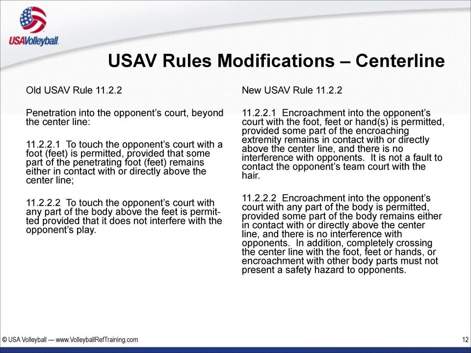 2.2.2 To touch the opponent s court with any part of the body above the feet is permitted provided that it does not interfere with the opponent s play. New USAV Rule 11.2.2 11.2.2.1 Encroachment into