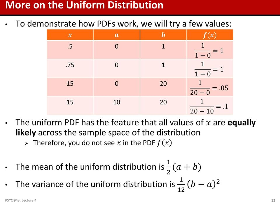 1 The uniform PDF has the feature that all values of x are equally likely across the sample space of the