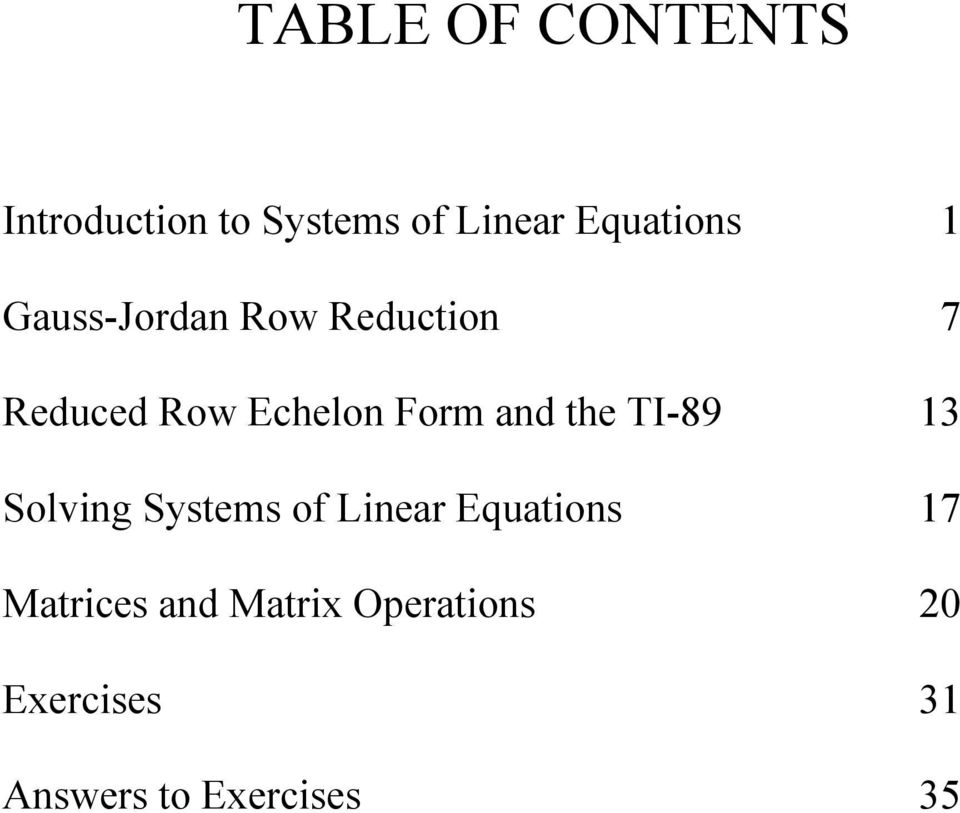 Form and the TI-89 1 Solving Systems of Linear Equations 17