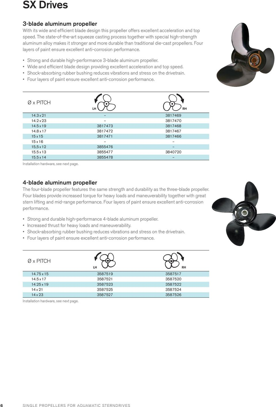Four layers of paint ensure excellent anti-corrosion performance. Strong and durable high-performance 3-blade aluminum propeller.