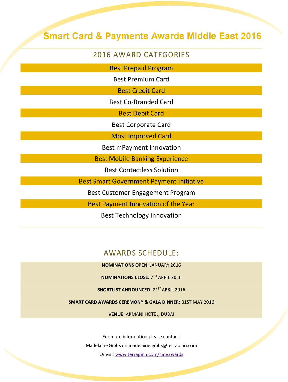 Year Best Technology Innovation AWARDS SCHEDULE: NOMINATIONS OPEN: JANUARY 2016 NOMINATIONS CLOSE: 7 TH APRIL 2016 SHORTLIST ANNOUNCED: 21 ST APRIL 2016 SMART CARD AWARDS