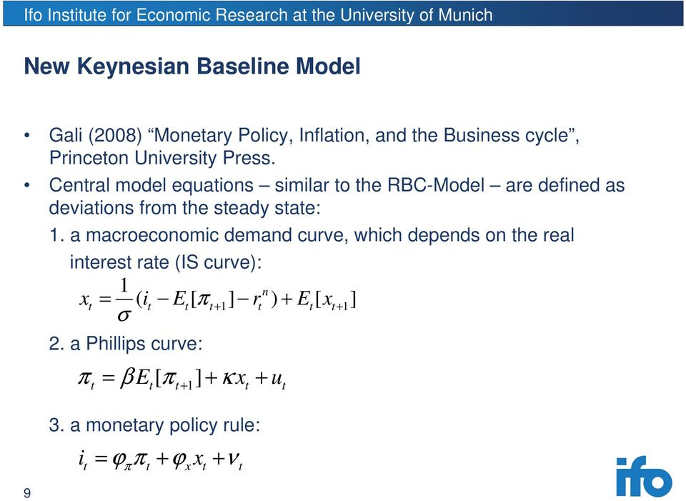 a macroeconomic demand curve, which depends on the real interest rate (IS curve): 1 ( [ ] n x = i E π r ) + E [ x ] t