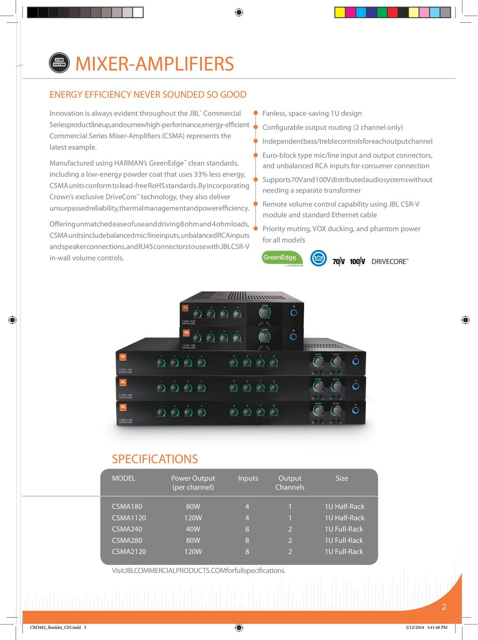For more information, please visit: jblcommercialproducts ... Jbl Csa Z Amplifier Wiring Diagram on