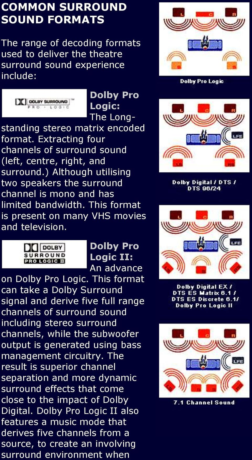This format is present on many VHS movies and television. Dolby Pro Logic II: An advance on Dolby Pro Logic.