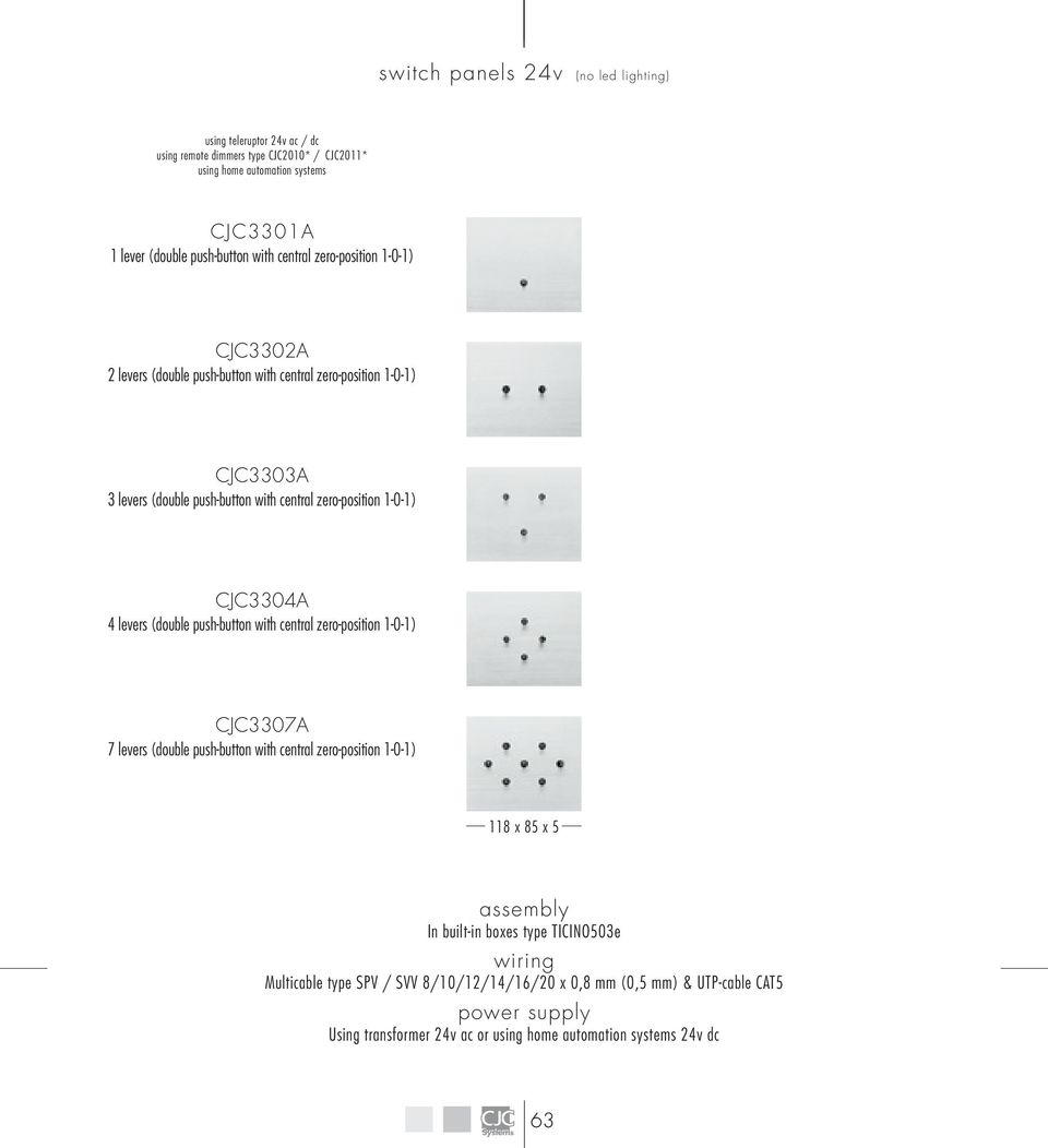 Bande Switch Panel With Flat Push Button Cjcsystems Com Pdf Wiring 24v To Ac Dc Cjc3304a 4 Levers Double Central Zero Position 1 0