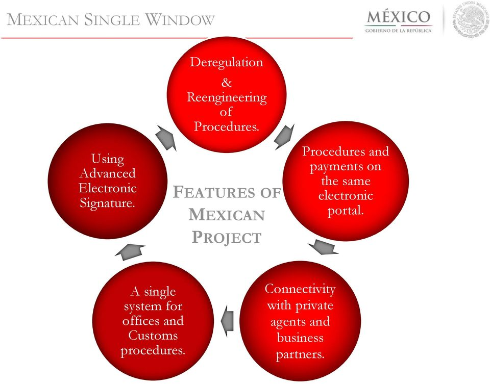 FEATURES OF MEXICAN PROJECT Procedures and payments on the same