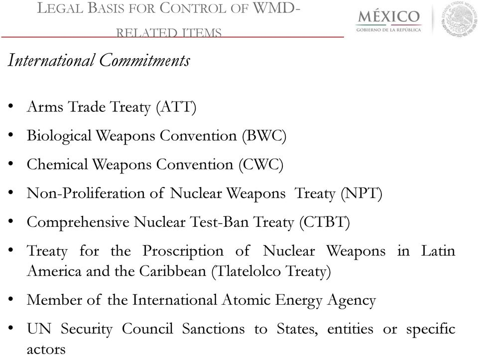Nuclear Test-Ban Treaty (CTBT) Treaty for the Proscription of Nuclear Weapons in Latin America and the Caribbean