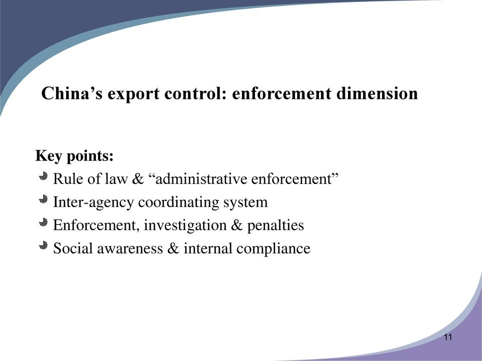 Inter-agency coordinating system Enforcement,