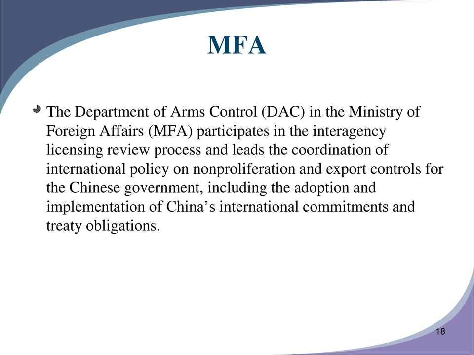 international policy on nonproliferation and export controls for the Chinese government,