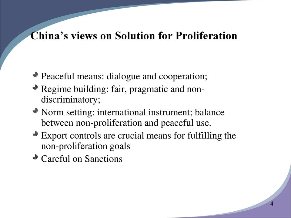 international instrument; balance between non-proliferation and peaceful use.