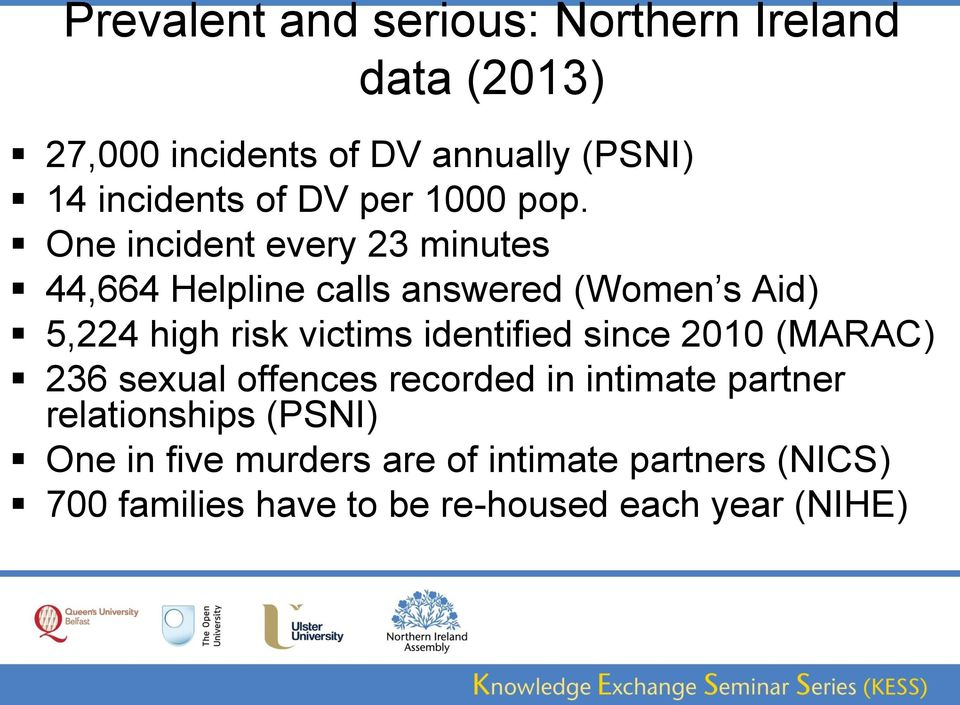 One incident every 23 minutes 44,664 Helpline calls answered (Women s Aid) 5,224 high risk victims
