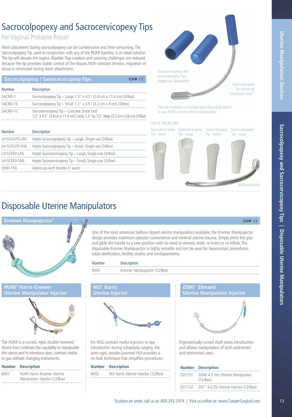 Surgical Products Uterine Manipulation Devices Female