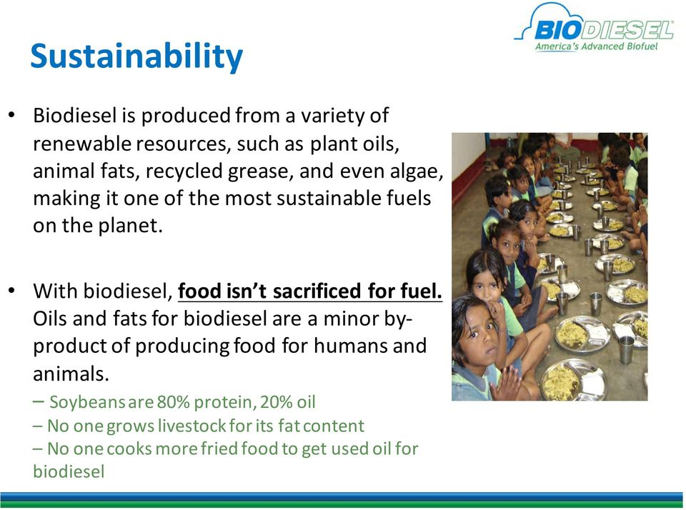 With biodiesel, food isn t sacrificed for fuel.