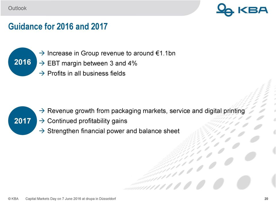 packaging markets, service and digital printing Continued profitability gains Strengthen