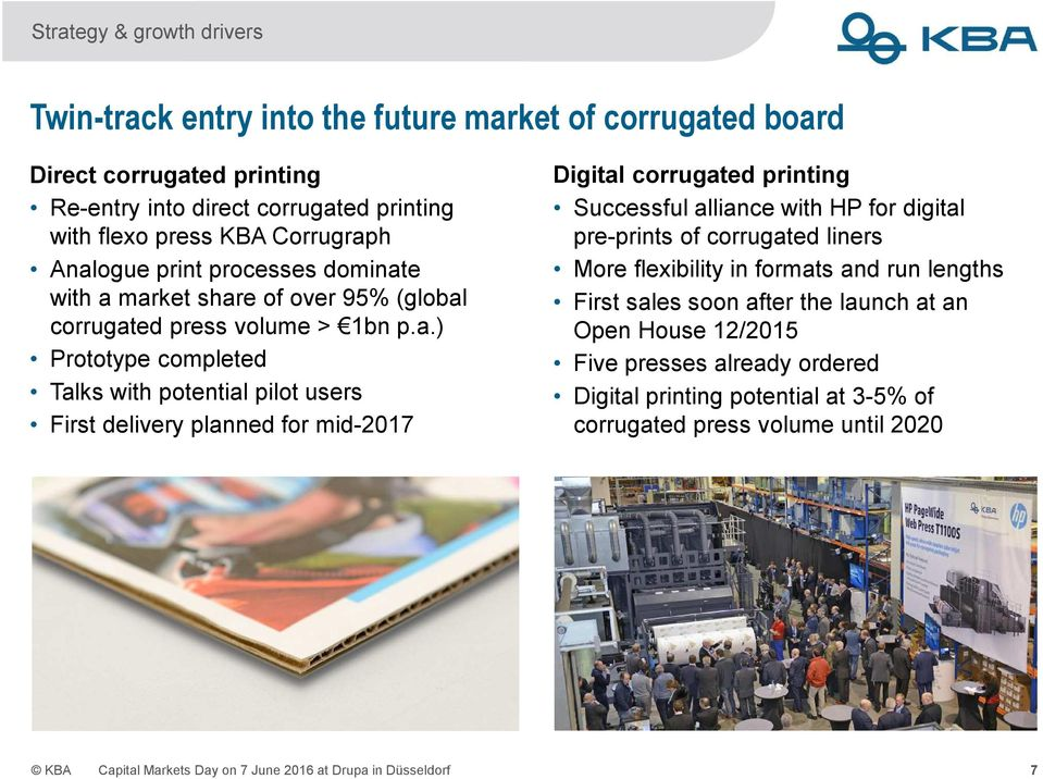 for mid-2017 Digital corrugated printing Successful alliance with HP for digital pre-prints of corrugated liners More flexibility in formats and run lengths First sales soon after the