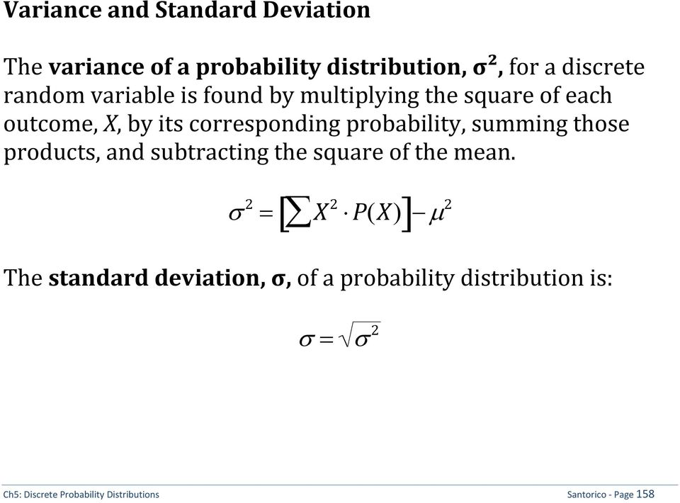 probability, summing those products, and subtracting the square of the mean.