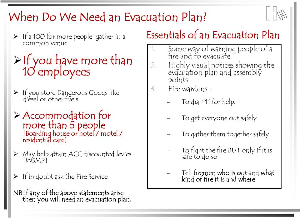 hotel / motel / residential care] May help attain ACC discounted levies [WSMP] If in doubt ask the Fire Service NB:If any of the above statements arise then you will need an evacuation plan.