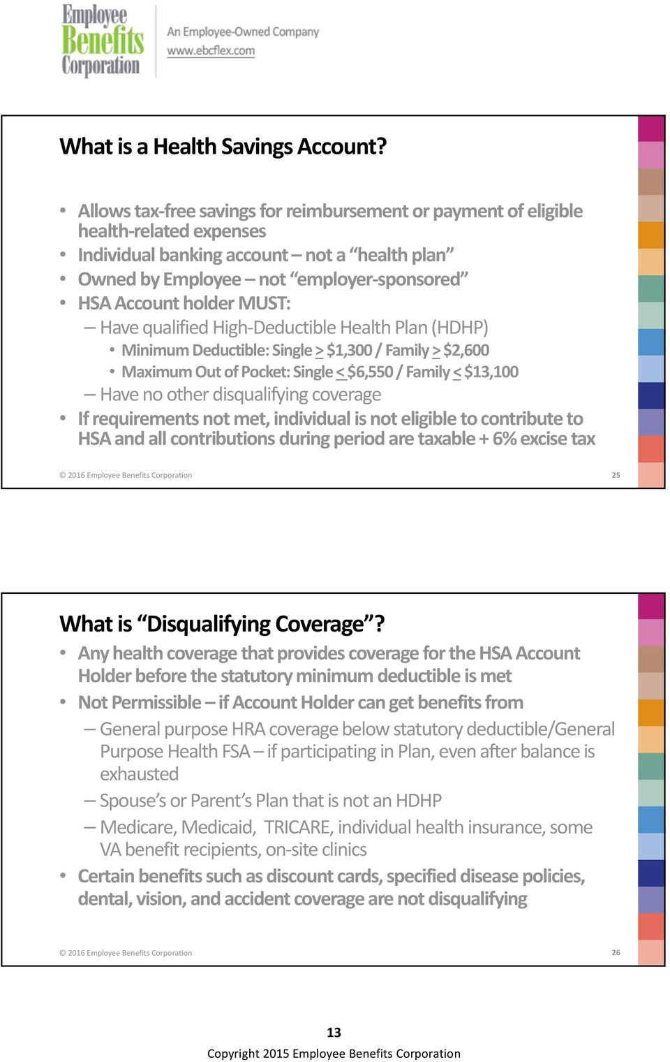 Have qualified High Deductible Health Plan (HDHP) Minimum Deductible: Single > $1,300 / Family > $2,600 Maximum Out of Pocket: Single < $6,550 / Family < $13,100 Have no other disqualifying coverage