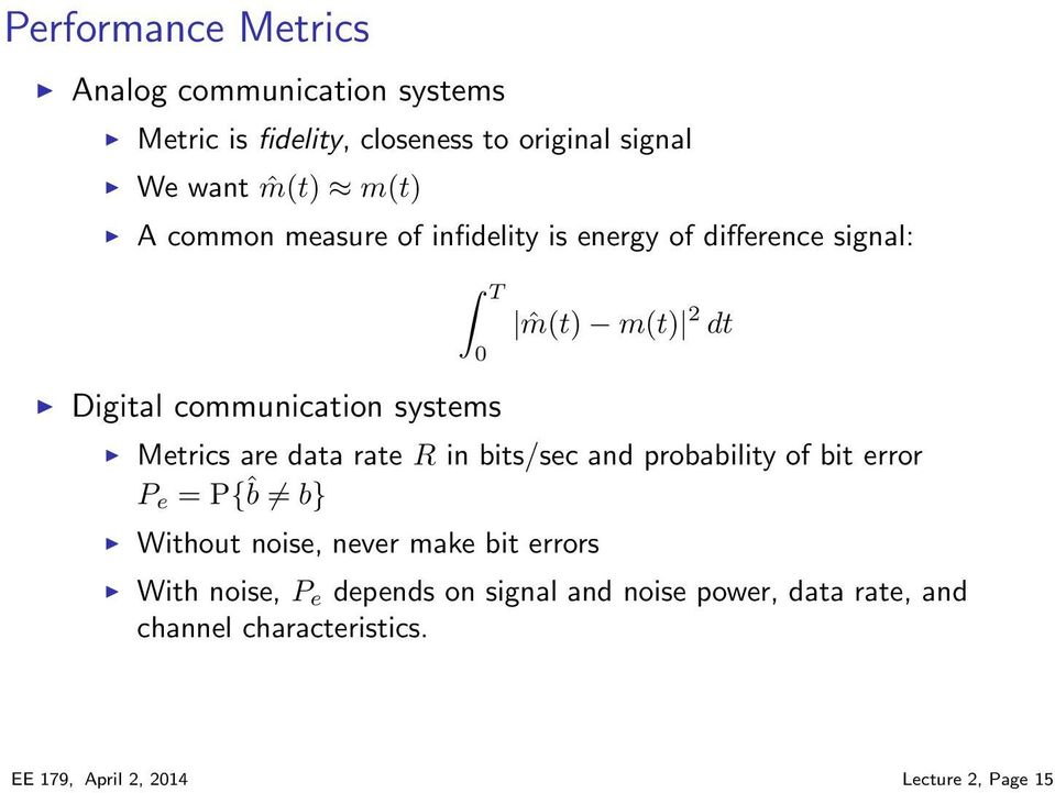 are data rate R in bits/sec and probability of bit error P e = P{ˆb b} Without noise, never make bit errors With