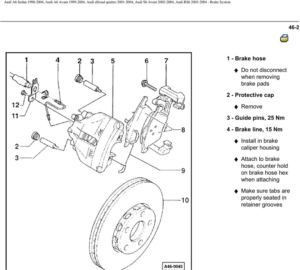 Install in brake caliper housing Attach to brake hose, counter hold on