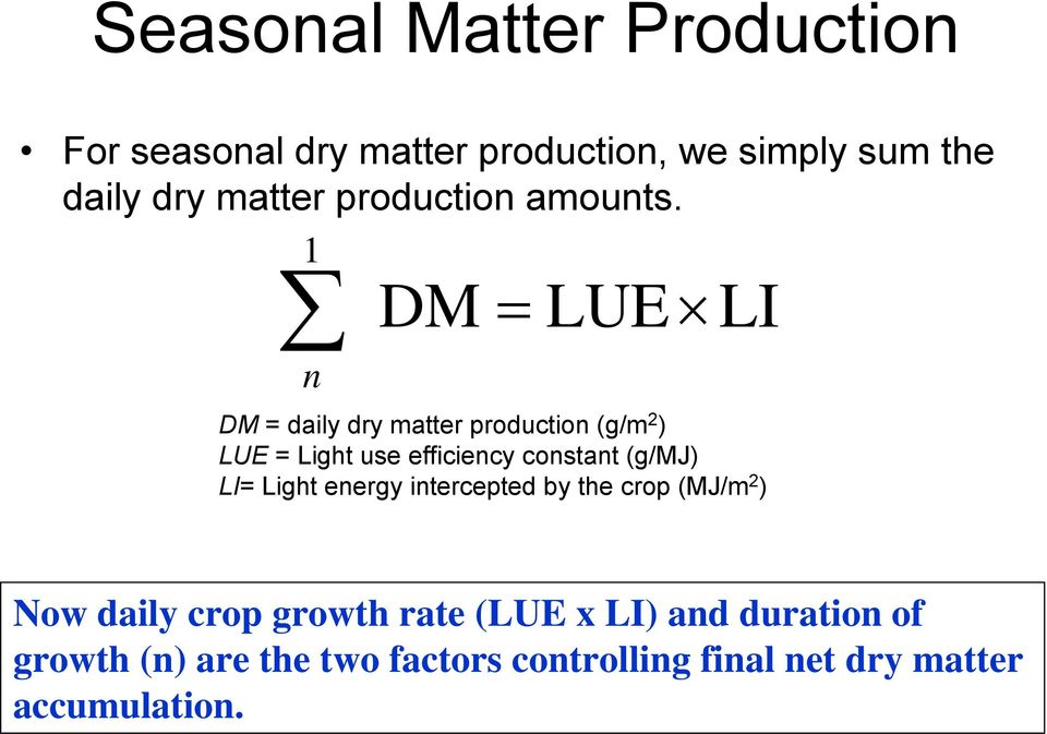 1 DM = LUE LI n DM = daily dry matter production (g/m 2 ) LUE = Light use efficiency constant (g/mj)