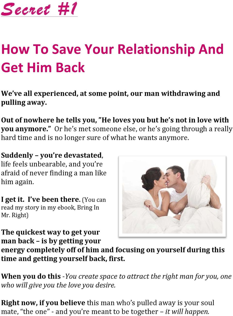 how to make a guy love you again