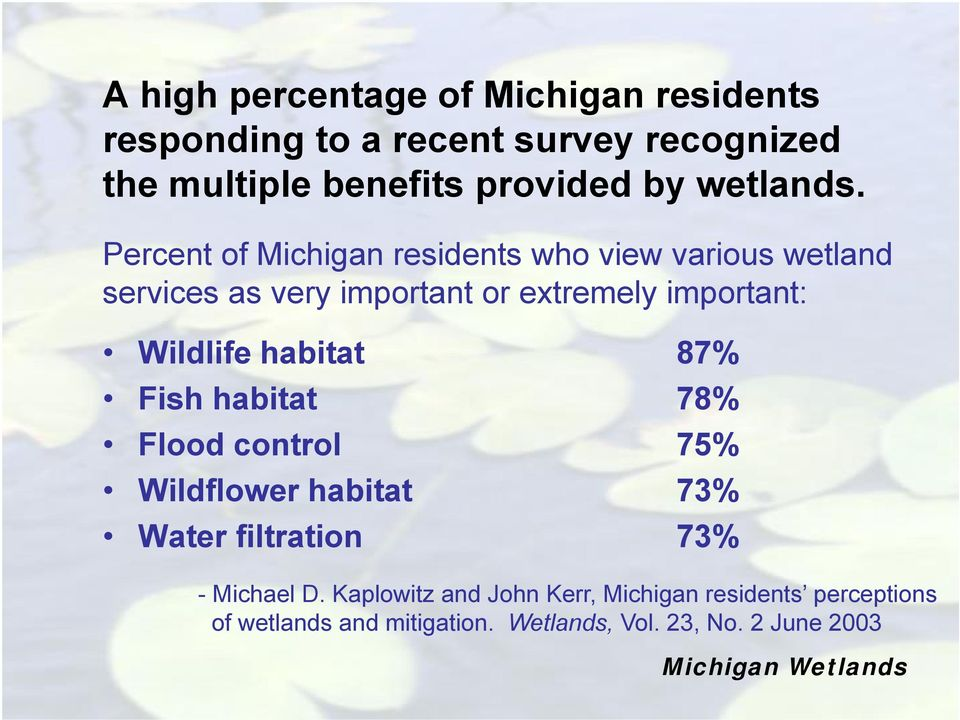 Percent of Michigan residents who view various wetland services as very important or extremely important: Wildlife